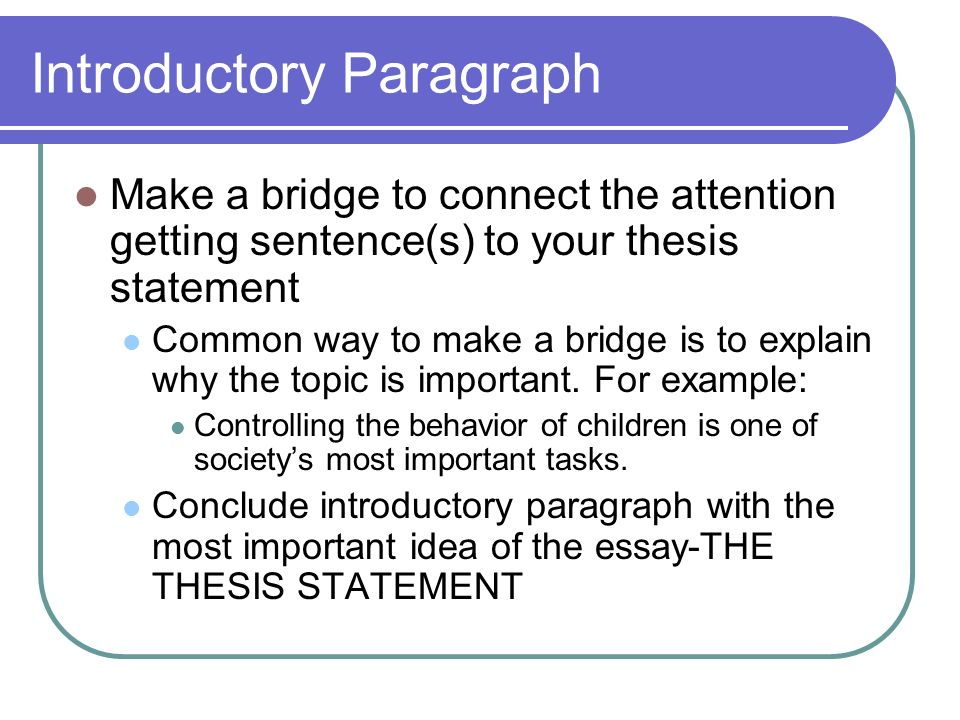 introductory paragraph with thesis This handout describes what a thesis statement is, how thesis statements work in your writing, and how you can discover or refine one for your draft.