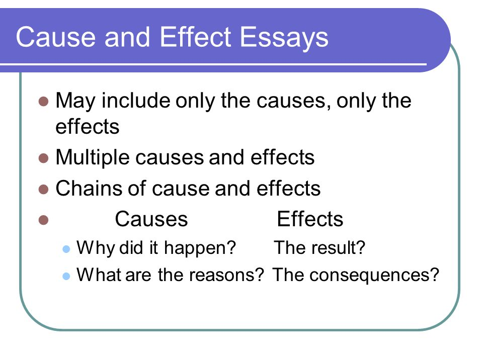 Cause Effect Essays