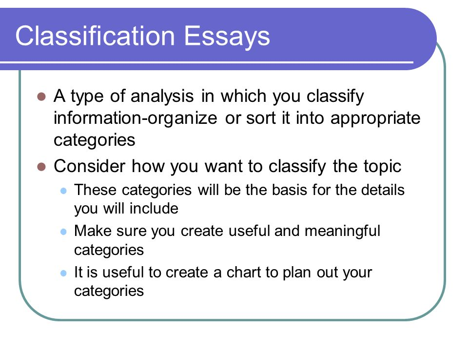division classification essay topic This excellent guide will help you choose one of the best division classification  essay topics to that end you should read these instructions carefully.