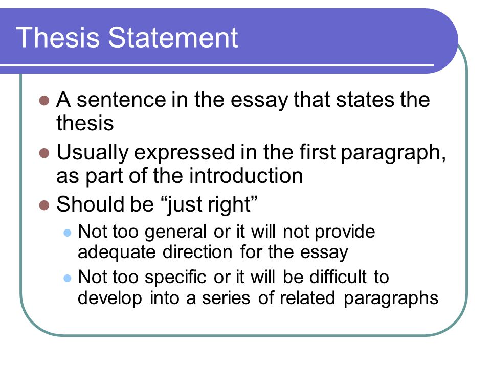 the thesis statement usually appears in the introductory paragraph The thesis statement is the center around (and usually, the most difficult definition of thesis statement adapted from earlier hamilton college writing center.