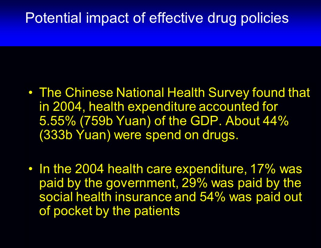Potential impact of effective drug policies