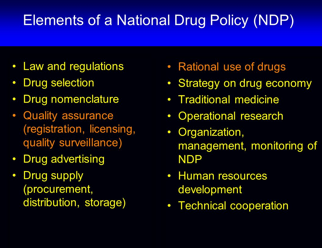 Elements of a National Drug Policy (NDP)