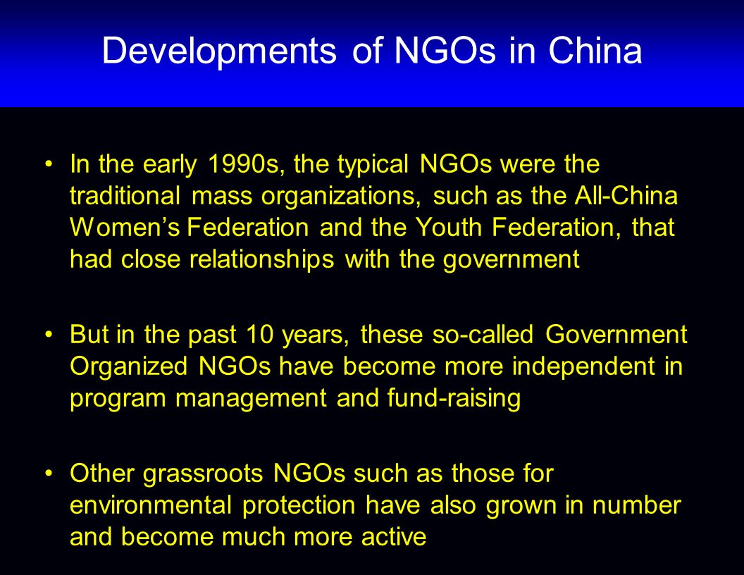 Developments of NGOs in China