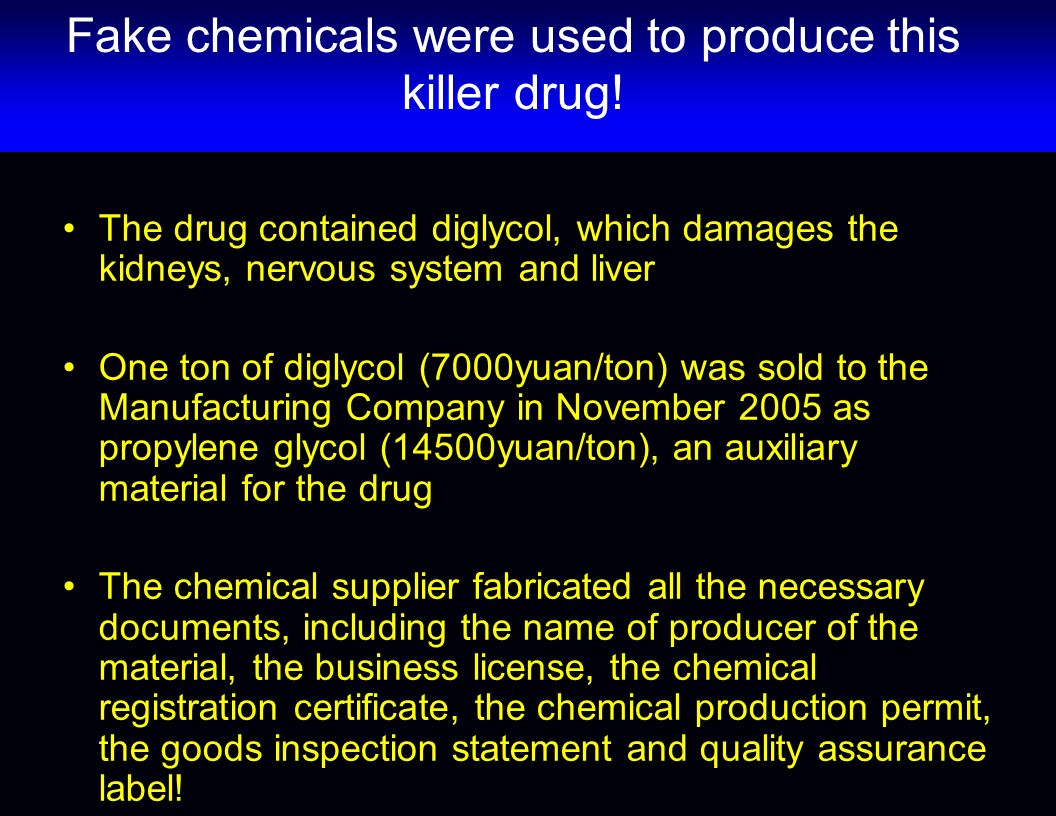 Fake chemicals were used to produce this killer drug!