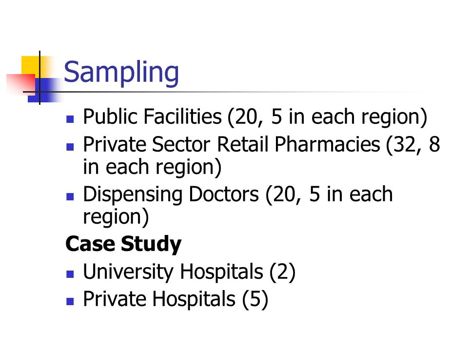 Sampling Public Facilities (20, 5 in each region)