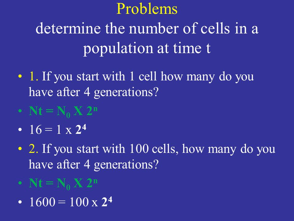Problems determine the number of cells in a population at time t