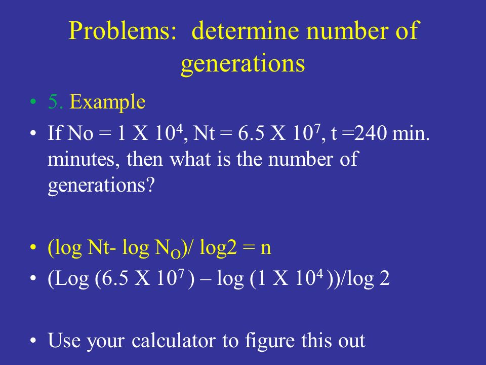 Problems: determine number of generations