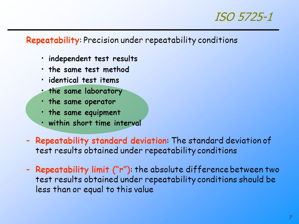 ISO 5725-1 Repeatability: Precision under repeatability conditions