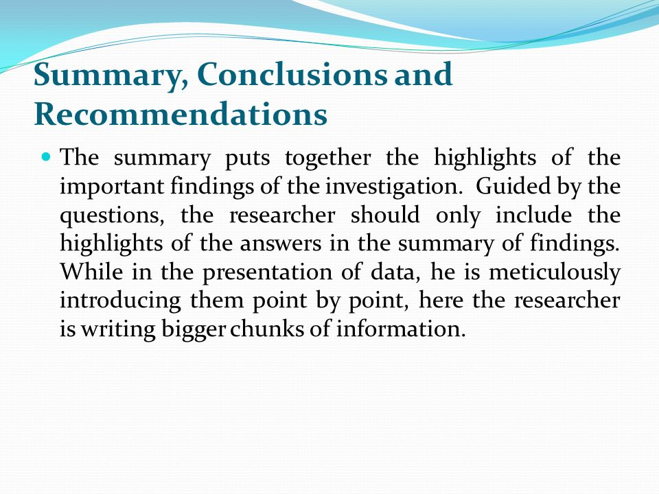 summary conclusion recommendation