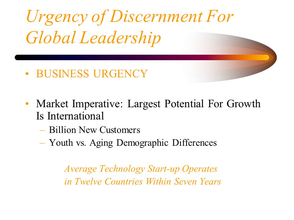 Urgency of Discernment For Global Leadership
