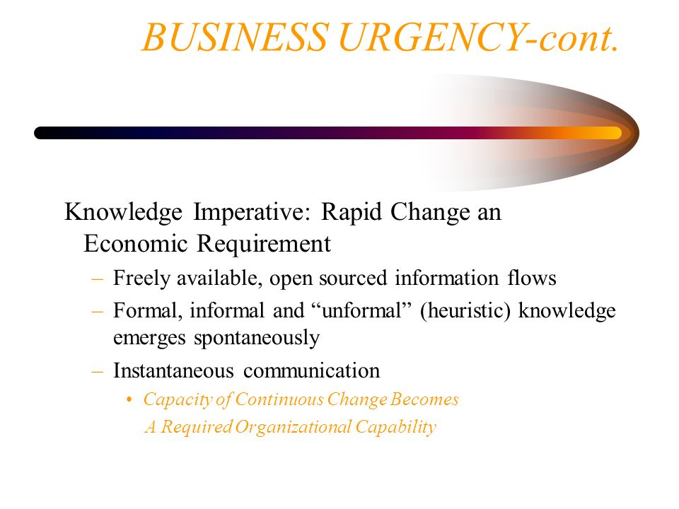 BUSINESS URGENCY-cont.