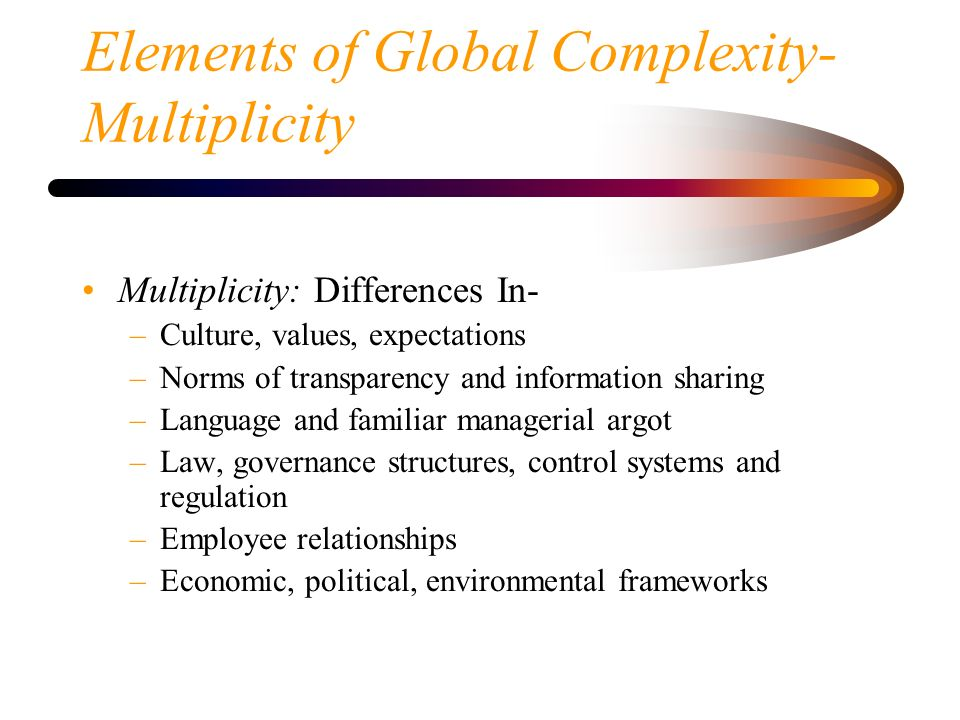 Elements of Global Complexity- Multiplicity
