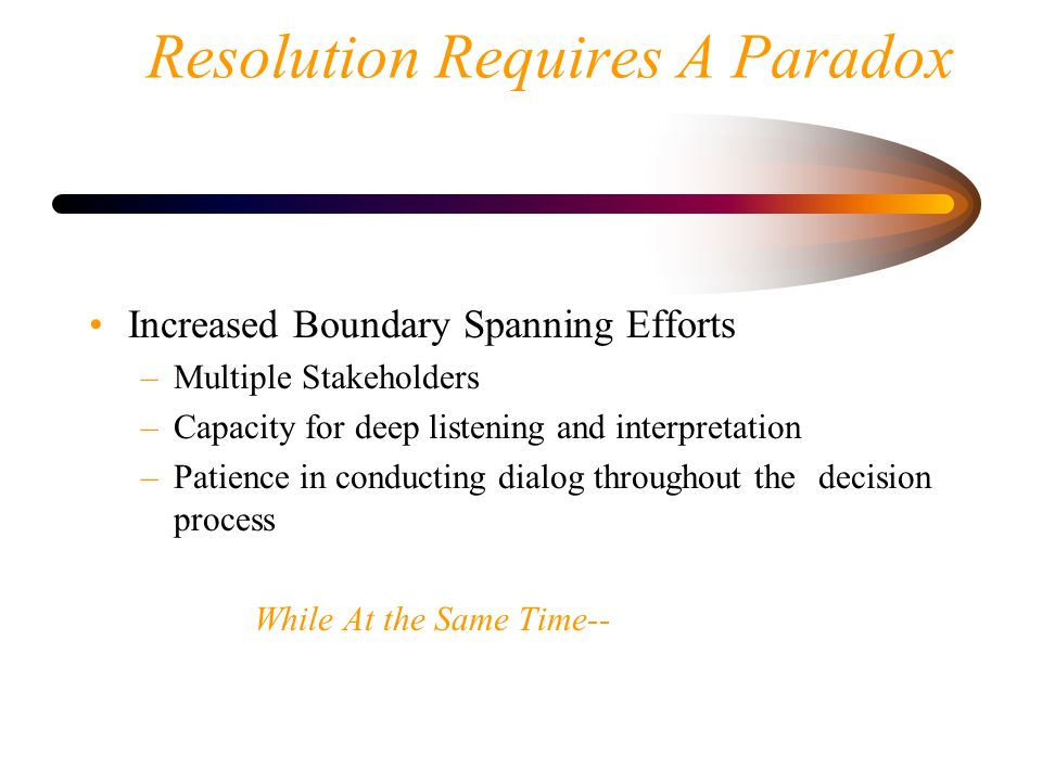 Resolution Requires A Paradox