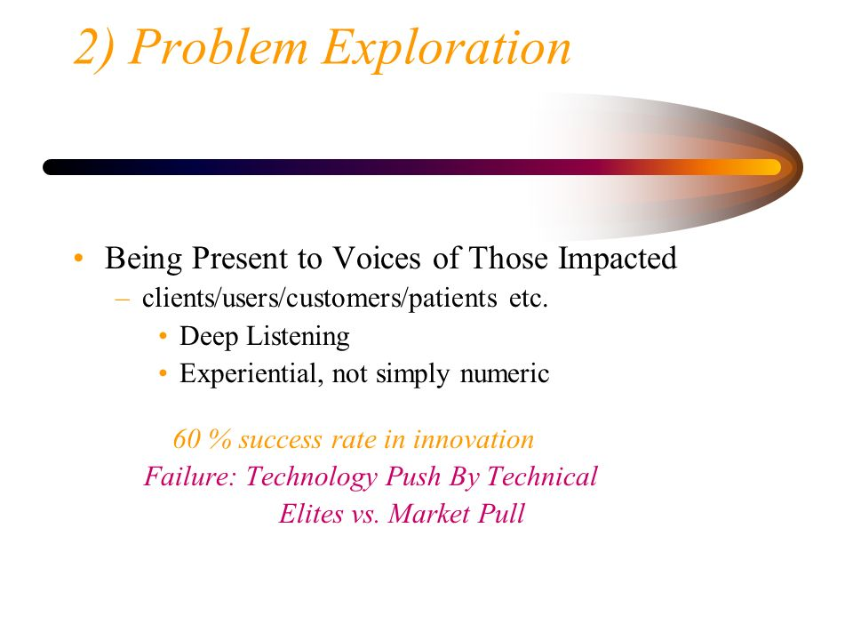 2) Problem Exploration Being Present to Voices of Those Impacted
