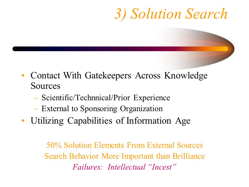 3) Solution Search Contact With Gatekeepers Across Knowledge Sources