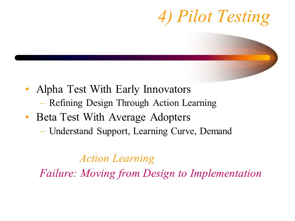 4) Pilot Testing Alpha Test With Early Innovators