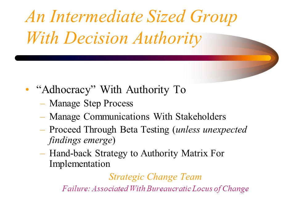 An Intermediate Sized Group With Decision Authority