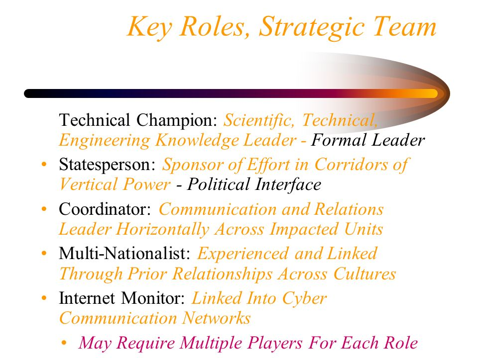 Key Roles, Strategic Team