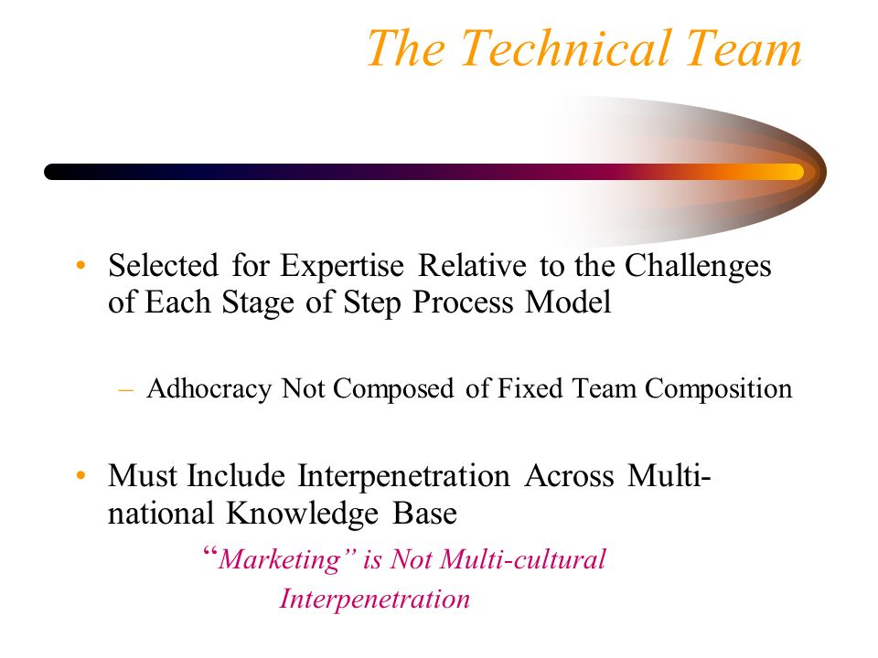 The Technical Team Selected for Expertise Relative to the Challenges of Each Stage of Step Process Model.