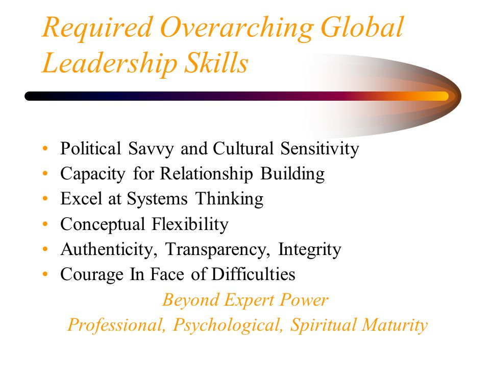 Required Overarching Global Leadership Skills