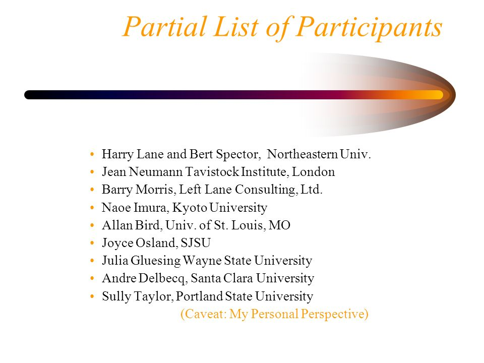 Partial List of Participants