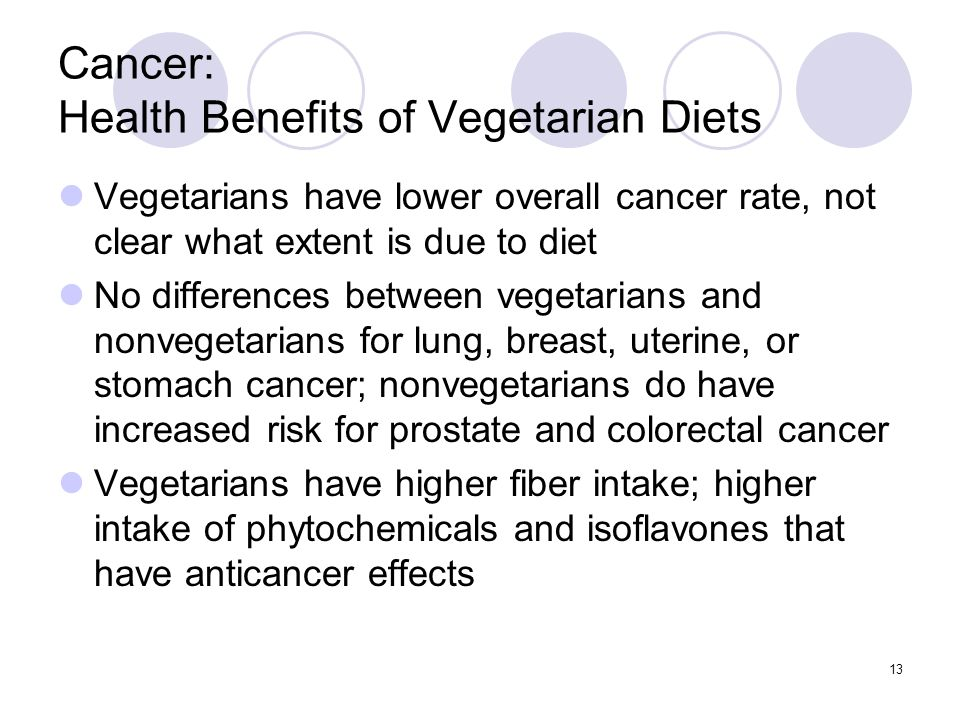 Cancer: Health Benefits of Vegetarian Diets