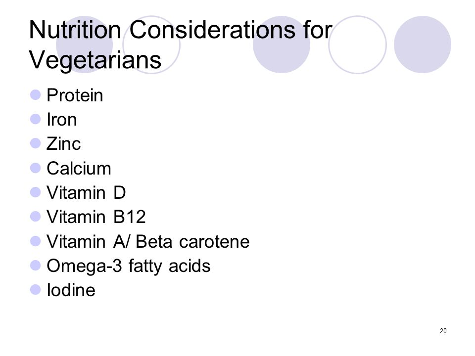 Nutrition Considerations for Vegetarians