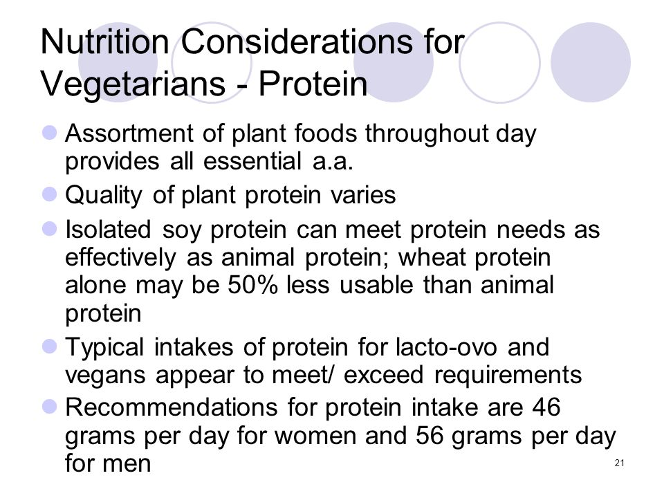 Nutrition Considerations for Vegetarians - Protein