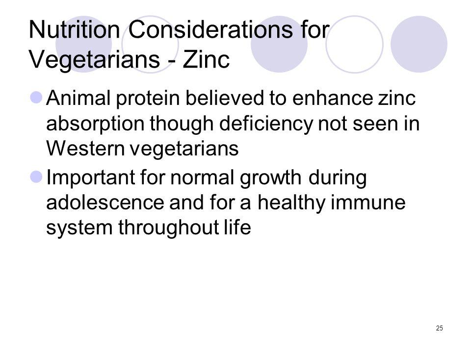 Nutrition Considerations for Vegetarians - Zinc