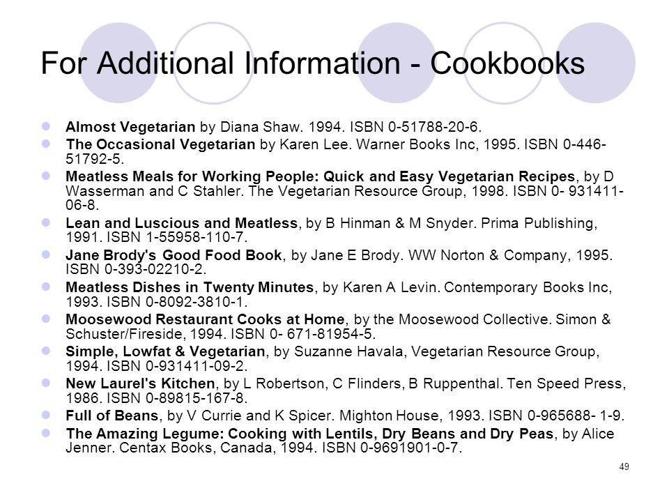 For Additional Information - Cookbooks