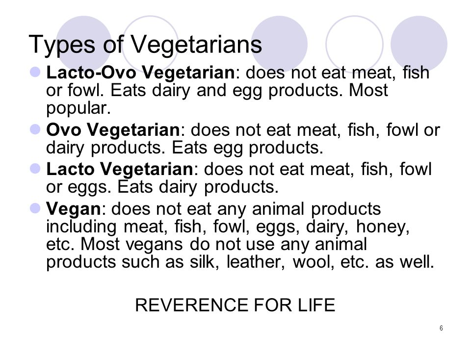 Types of Vegetarians Lacto-Ovo Vegetarian: does not eat meat, fish or fowl. Eats dairy and egg products. Most popular.