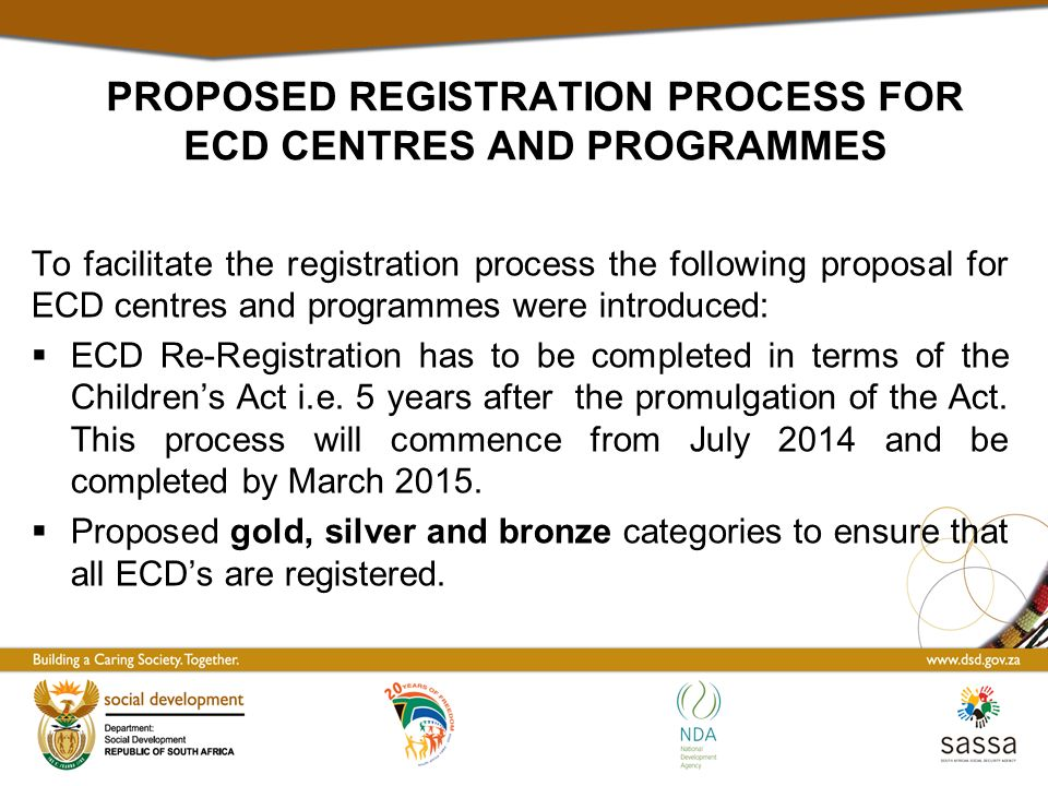 PROPOSED REGISTRATION PROCESS FOR ECD CENTRES AND PROGRAMMES