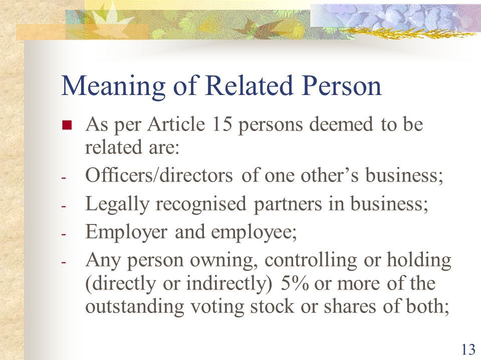 Meaning of Related Person