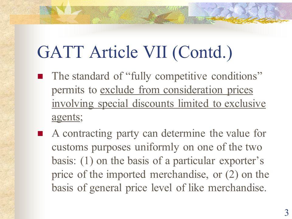 GATT Article VII (Contd.)