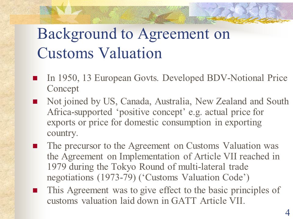 Background to Agreement on Customs Valuation