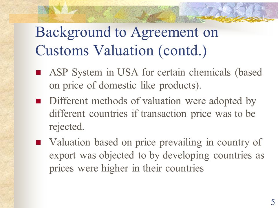 Background to Agreement on Customs Valuation (contd.)