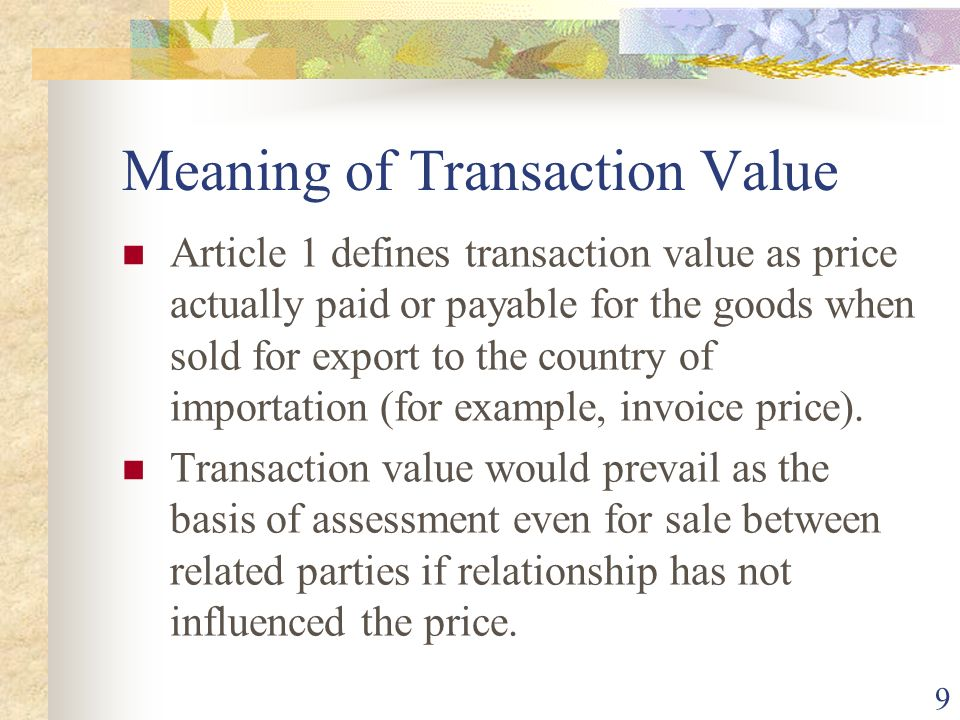 Meaning of Transaction Value