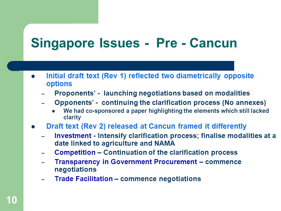 Singapore Issues - Pre - Cancun