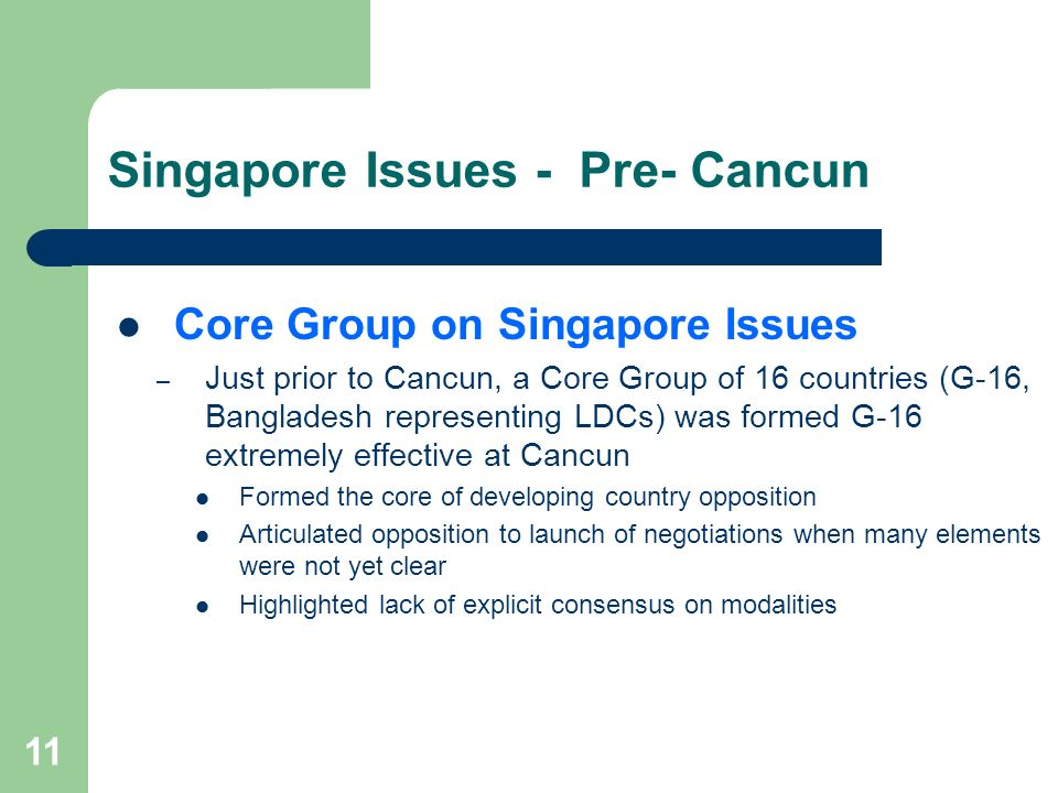 Singapore Issues - Pre- Cancun