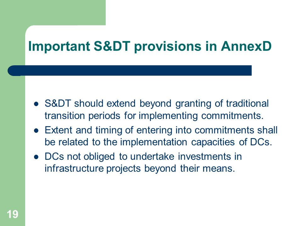 Important S&DT provisions in AnnexD