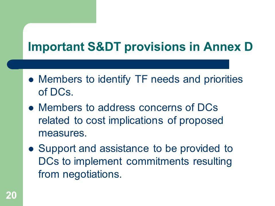 Important S&DT provisions in Annex D