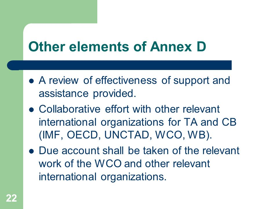 Other elements of Annex D