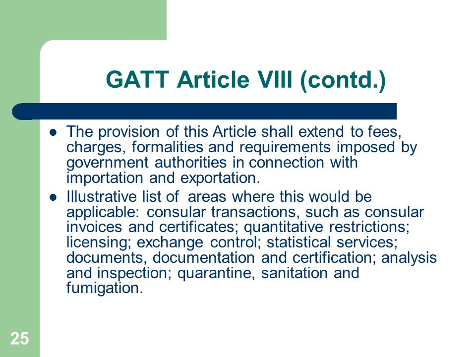 GATT Article VIII (contd.)