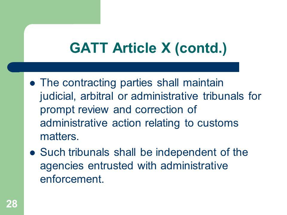GATT Article X (contd.)