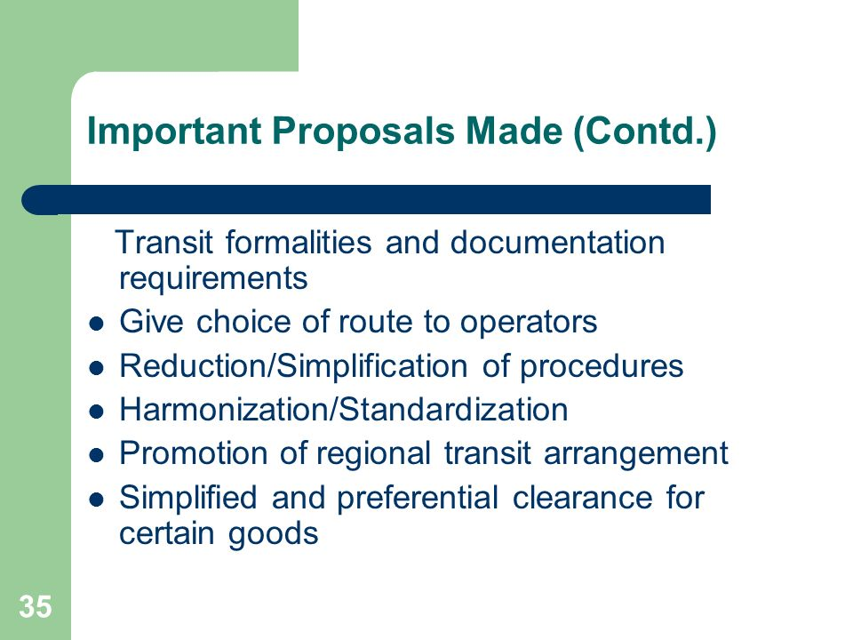 Important Proposals Made (Contd.)