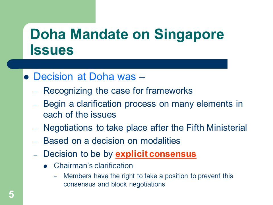 Doha Mandate on Singapore Issues