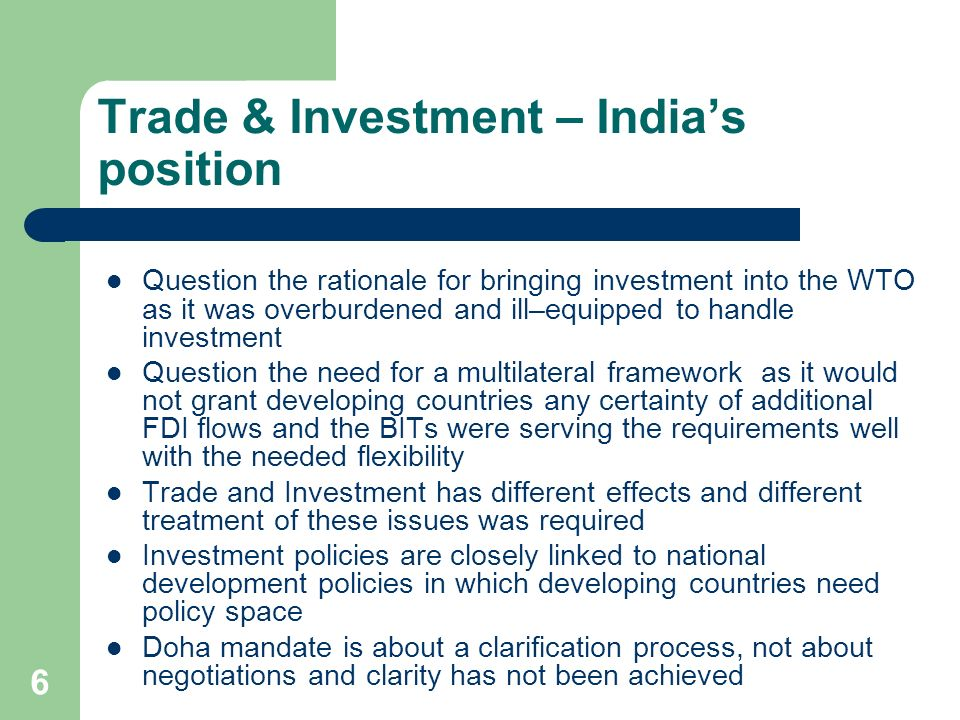 Trade & Investment – India's position