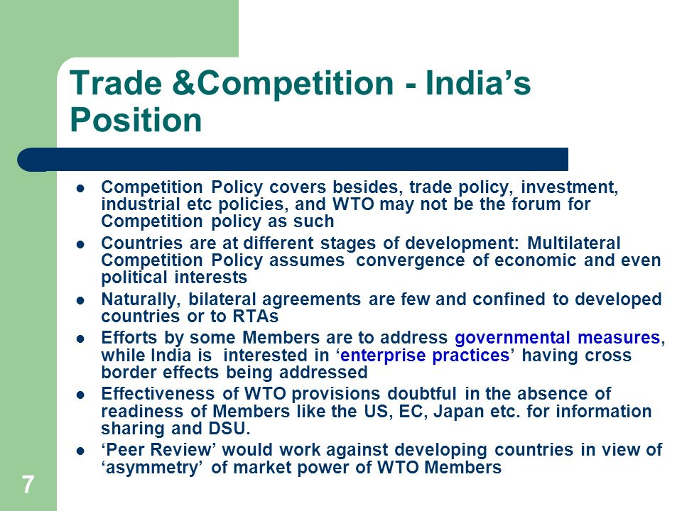 Trade &Competition - India's Position
