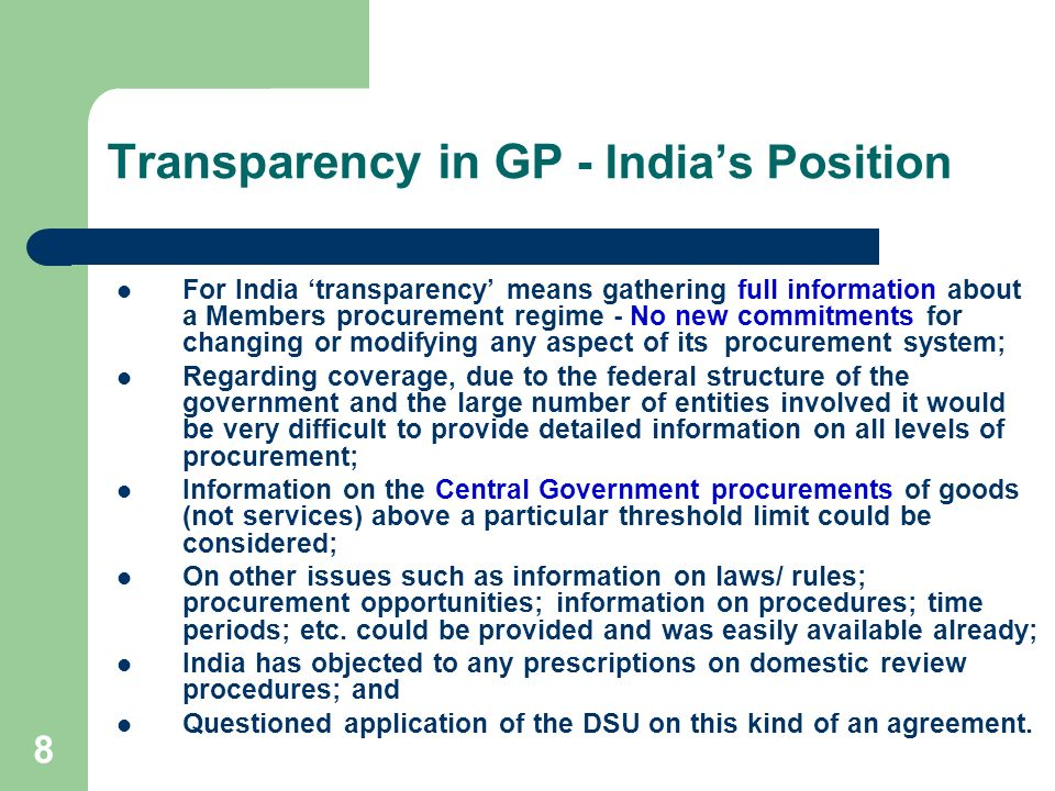Transparency in GP - India's Position