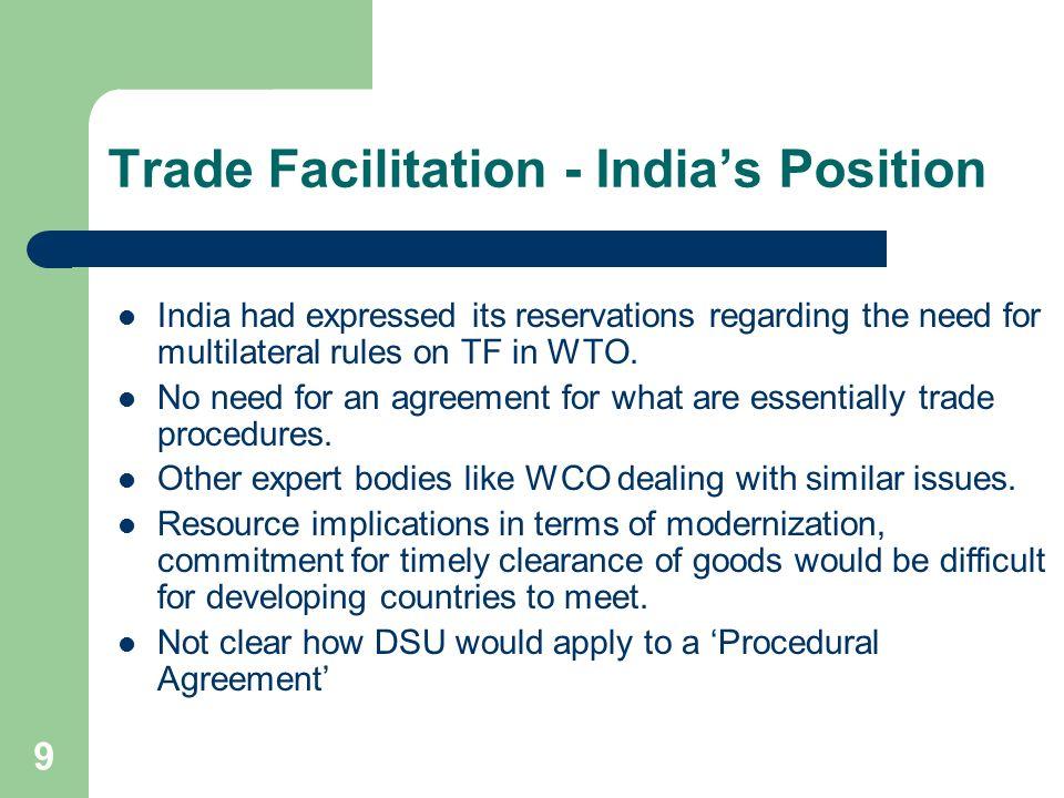 Trade Facilitation - India's Position